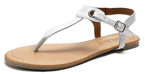 SANDALUP Flache Sandalen mit Metallschnalle für Damen,  Weiß,  40 EU (7 UK)
