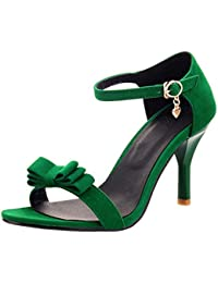 TAOFFEN Donna Eleganti Peep Toe Sandali Tacco A Cono Tacco Medio Cinturino A T Scarpe Con Fibbia (37 EU, rosa)