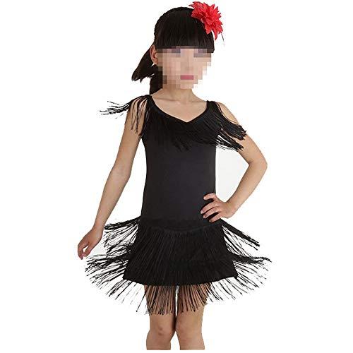 Asdflina-Kinder tanzen Kleid Mädchen Tanz Kostüm Outfits Quasten Tassle Dress Tanzbekleidung für besondere Anlässe (Farbe : Schwarz, Größe : 160cm)