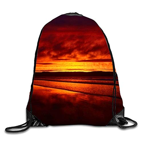 Artpower Beach Horizon Red Sea Sunset Tropical Sackpack Drawstring Backpack Waterproof Gymsack Daypack for Men Women (Horizons Physical Education)