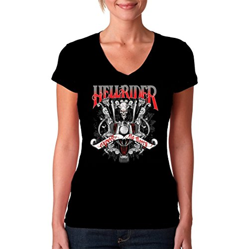 Biker Girlie V-Neck Shirt - Hellrider - Expect no mercy by Im-Shirt Schwarz