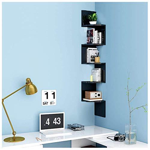 Buyi-world libreria da muro a 5 ripiani, mensola porta libri, cd, fotografie in legno, scaffale angolare 20 × 20 × 123cm carico 20kg (nero)