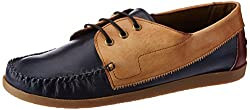 Knotty Derby Mens Quoddy Derby Navy+Tan+Bodo Leather Boat Shoes - 9 UK/India (43 EU)