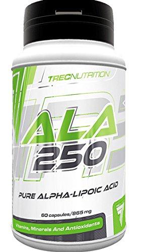 Trec Nutrition Ala 250 Natürliches Antioxidant Alpha-Liponsäure (ALA) Stoffwechselprozess Bodybuilding - 60 Kapseln