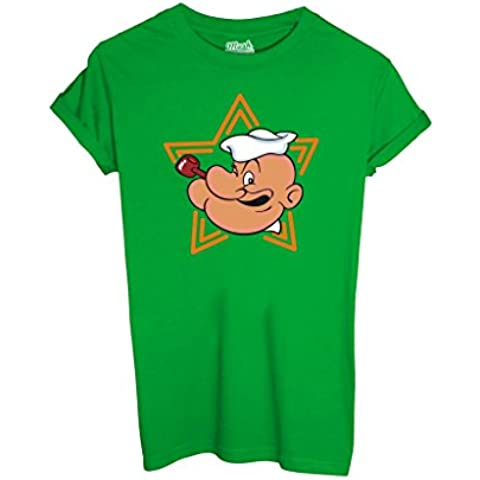 T-Shirt POPEYE - CARTOON by iMage Dress Your Style - Donna-XL-VERDE PRATO