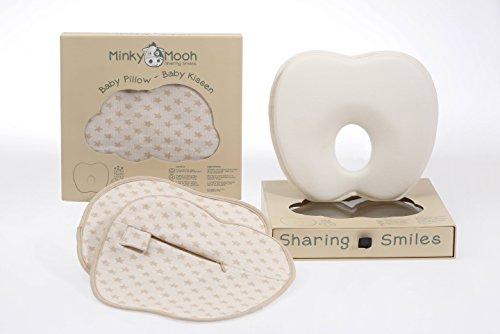 Babykissen Set gegen Plattkopf aus BIO-Baumwolle - Inkl. 2 waschbaren Bezügen | Ergonomisches, extraweiches Memory Foam für natürliche Kopfform von Neugeborenen + Babys