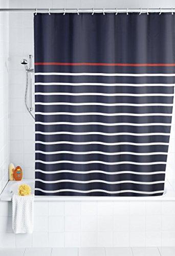 Marina Duschvorhang (WENKO 20965100 Duschvorhang Marine Blue - waschbar, mit 12 Duschvorhangringen, 100 % Polyester, Mehrfarbig)