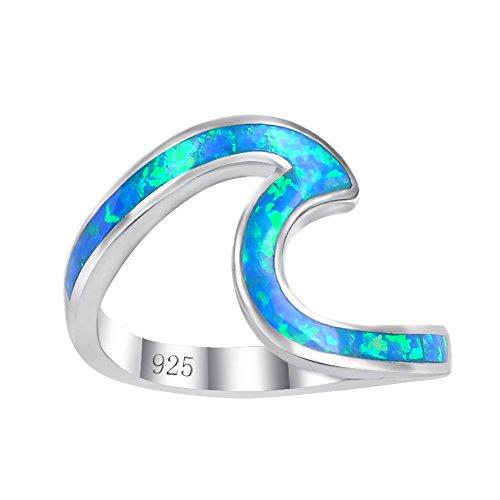 Chic plata de ley 925Wave Cut anillo de niña