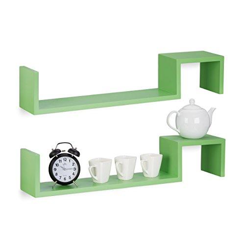 Relaxdays 10021814_53 set 2 mensole da parete, libreria a muro, in legno, hxlxp: 15 x 80 x 15 cm, verde