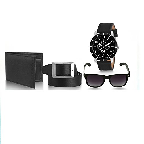 Carlos Men\'s Stylish Watch with 1 Leather Wallet and Belt/1 fastrack Sporty Watch/Wayfarer Sunglasses Set(Black Dial, Multicolour, CR-COM-BL-220302)