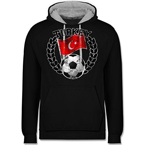 Fußball - Turkey Flagge & Fußball Vintage - Kontrast Hoodie Schwarz/Grau Meliert