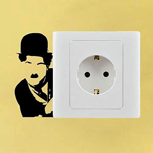 yuandp Charlie Chaplin Tuning Fashion Camera da Letto Vinile Adesivo Interruttore Decor Sticker 9x9cm