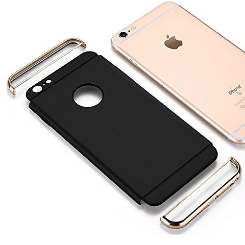 iPhone SE, 5S, 5 Hülle, Conie Rückschale Hardcase Hybrid Schutzhülle Backcover Schlanke Handyhülle in Rose Gold Schwarz