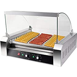 COSTWAY Hot Dog Grill Roller Wurstgrill Würstchengrill Wurstwärmer Hot Dog Maschine Hot Dog Maker 11 Rollen Edelstahl 2200 W