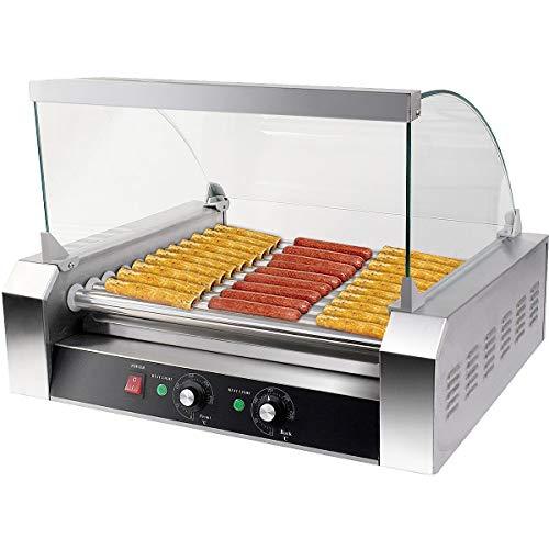 COSTWAY Hot Dog Grill Roller Wurstgrill Würstchengrill Wurstwärmer Hot Dog Maschine Hot Dog Maker 11 Rollen Edelstahl 2200 W