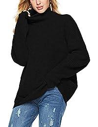 Serface Damen Rollkragenpullover Winter Schwarz Weiß Oversized  Strickpullover Elegant Langarm Strick Pullover Weich Pulli Sweatshirt  Oberteile fc6930b160