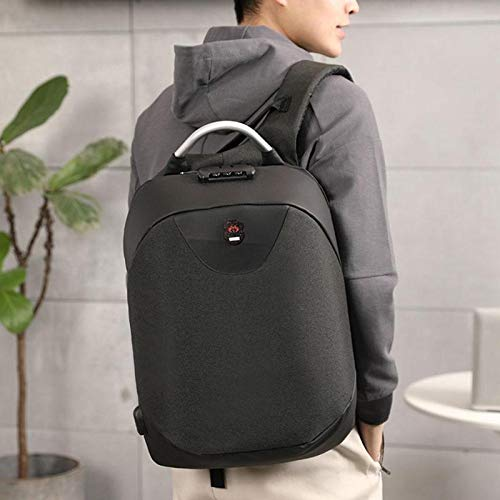 Best anti theft backpack in India 2020 SaleOnTM 15.6 Inch Laptop Anti-Theft Backpack with USB Plug Charging Port 30 Ltrs Fashion Business Bag for Men School College Office with Lock (Silver) - 1214 Image 5