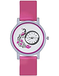 True Colors Analogue Casual Pink And White Dial Watch For Women And Girls Frida