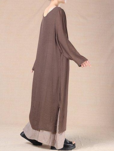 Vogstyle Damen Doppel Layered Sommer Maxi Kleid Kaffee-Langarm