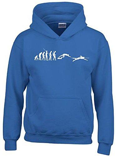 SCHWIMMEN Evolution Kinder Sweatshirt mit Kapuze HOODIE blau-weiss, Gr.140cm