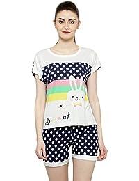 N-Gal Women Pink-White Printed Nightwear Top and Shorts Loungewear Set -  NAYN68 0cf127271
