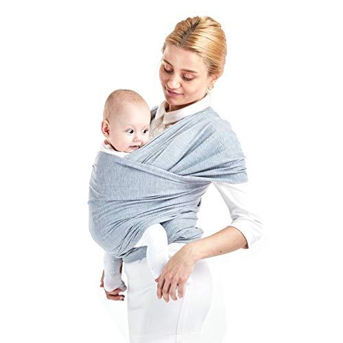 MUSEROY Porte-Bébé, Élastique pour Bébé Nouveau-Né - Couverture Allaitement Douce et Confortable pour Nouveau-Nés - Gris Clair