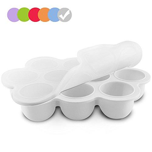 Silikon Baby Food Gefrierschrank Tray Mit Deckel - Wiederverwendbare Mold Storage Container Hausgemachte Baby Food - Gemüse, Obst Purees, Brust Milch und Eiswürfel - BPA Frei & FDA Zugelassen - Weiß
