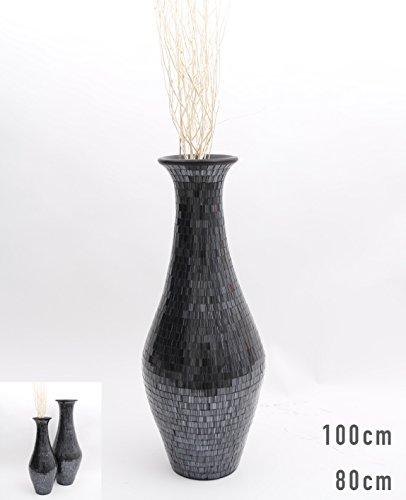 Jarrón de Suelo Mosaico de Vidrio 80 cm, Cerámica, Negro