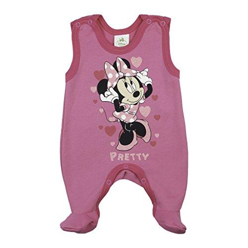 BABY-STRAMPLER mit Füßchen, GEFÜTTERT, Spiel-Anzug mit Druckknöpfen, BABY-SCHLAFANZUG ärmellos mit Minnie Mouse, Grösse 56, 62, 68, 74, Geschenk für Neugeborene in rosa und grau Size 74, Farbe (Für Minnie Kleinkinder Outfit Maus)