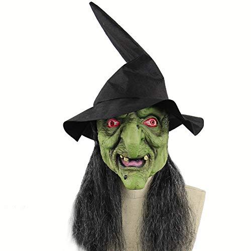 WZMHBMJ Maske Mit Hut Und Haar Kostüm Make-Up Maske Beängstigend Halloween Maske Kostüm Beängstigend - Beängstigend Kostüm Hüte