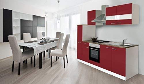 respekta Küche Küchenzeile Einbauküche Küchenblock 240 cm Weiss Rot Soft Close