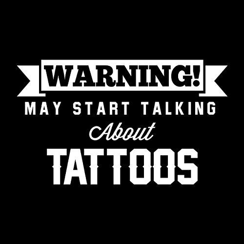Warning May Start Talking About Tattoos Men's Hooded Sweatshirt Black