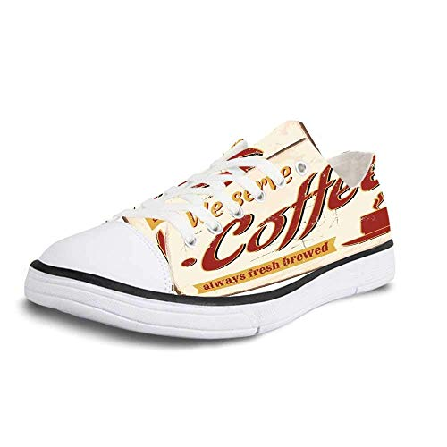Women Canvas Sneaker Casual Low Top Flat Shoes,1950s Decor Retro Style Tin Rusty Faded Fresh Brewed Coffee Print from Old Days Fifties Art Work Women 12/Man 9,Women 8
