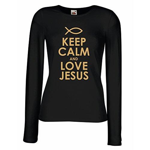 Weibliche Langen Ärmeln T-Shirt Liebe Jesus Christus, christliche Religion - Ostern, Auferstehung, Geburt Christi, religiöse Geschenkideen (XX-Large Schwarz Gold)