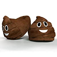 Funny Novelty Gift Emoti Poo Slippers - Winter Smiley Kids Plush Indoor Universal Size Emoticon Footwear for Boys Girls Ladies Children