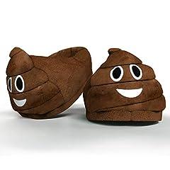 Idea Regalo - Desire Deluxe pantofole peluche emoji - Pantofole donna e pantofole uomo invernali - Emoji cacca per idea regalo divertente - Taglia unica