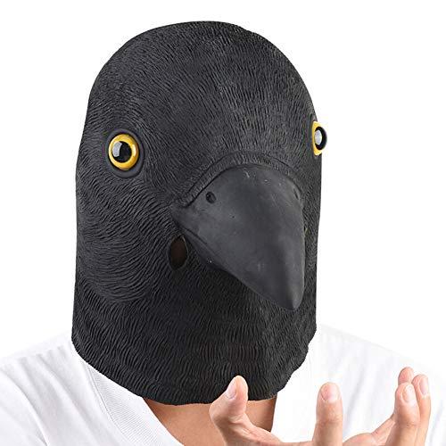 LIYANJIN Taub Maske Latex Tiermaske Kopf Kostüm Krähe Masken für Halloween Weihnachten Party - Krähe Kostüm Maske