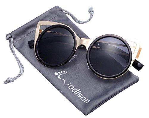 WODISON Frauen Klassische Sonnenbrille Metallrahmen Runde Objektiv Katzenauge -Art-Brille (Goldrahmen Schwarz-Linse)