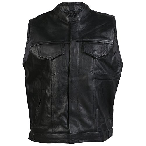 Gilet de motos sans manches - homme - cuir - style « Sons Of Anarchy » - L - 111cm