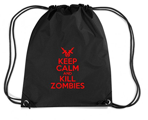 Cotton Island - Zaino Zainetto Budget Gymsac TZOM0043 keep calm and kill zombies white, Taglia Capacita 11 litri