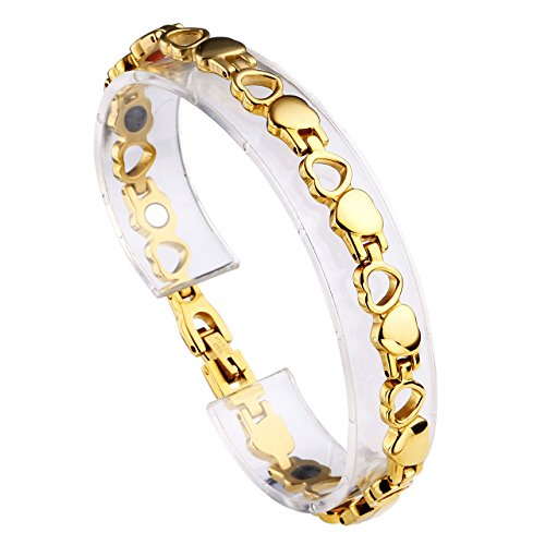 JOVIVI Damen Magnetarmband Edelstahl Magnetische Armreif Magnete Armband Armrief, Hohl Liebe Herz Stil Gold