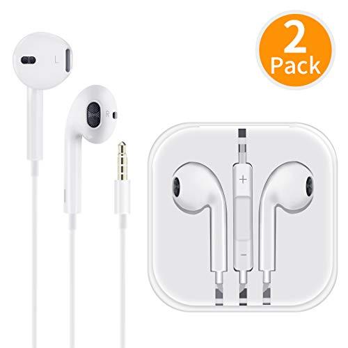 Écouteurs avec Micro et Microphone Contrôle du Volume Stéréo Isolation du Son pour iPhone 6s/ 6/5/ iPod/iPad/Android/ MP3 Deux Packs