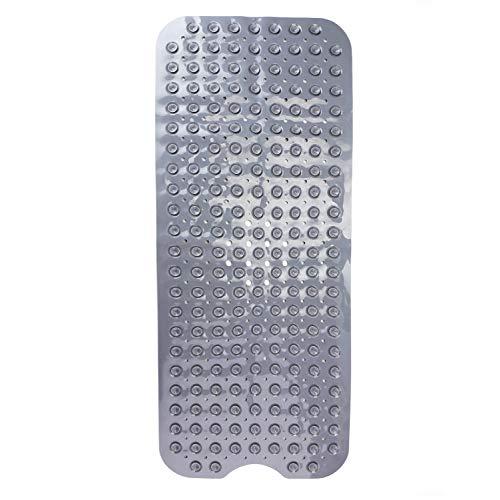 THETIS Homes Badewanneneinlage Badematte, Extra Lang 100 x 40cm, Sicher Gummi Rutschfest mit 200 Saugnäpfen, Maschinenwaschbar, Antibakteriell - 2 Farbe - Grey