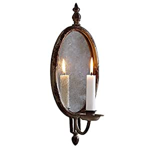 loberon kerzenhalter eugene mit spiegel in klassischer medaillonform creme k che. Black Bedroom Furniture Sets. Home Design Ideas