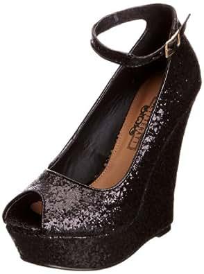 Glitteratti Women's Damaris Black Glitter Wedges Heels LS6434 5 UK