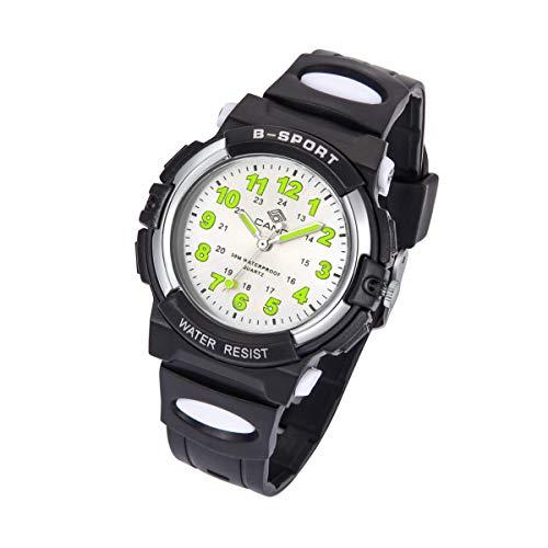 Kinderuhr Junge, Kinderuhr Armbanduhr Analog Wasserdicht Sports Uhren für Jungen und Mädchen Uhr Sports Uhren (Schwarz)