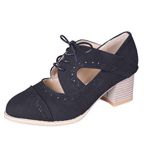 LHWY Sandalen Damen Sommer Frauen Square High Heels Vintage Retro Schnür Stiefelette Einfarbig Hohl Einzelne Schuhe Booties Große Damenschuhe