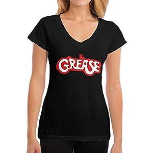 Damen Grease Logo Logo Baumwolle T Shirt Bekleidung V-Ausschnitt Für Frauen Kurzärmlig Black