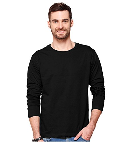 Smartees Black Color Cotton Plain Full Sleeve Tshirt for Men