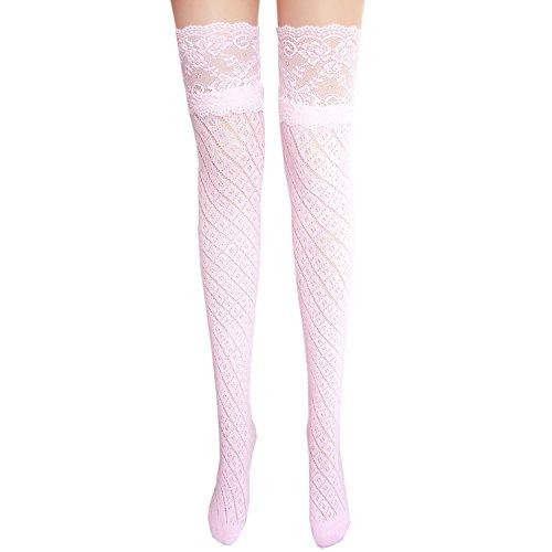 JHosiery Damen Baumwollstrümpfe mit Spitze (Rosa #2) (Knie-hohe Mädchen-rosa Socken)